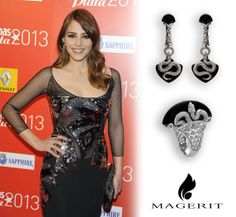 Last monday, Madrid night was full of glamour when Premios Fotograma de Plata were celebrated in the emblematic Joy Eslava. Young actress Andrea Duro, chosen as one of the best dressed of the night, wore this spectacular set of earrings and ring in white gold, diamonds and onix, both pieces from Mithology Collection Stylist: Freddy Alonso #Magerit #MageritJoyas #Jewels #WhiteGold #Fashion #AndreaDuro #PremiosFotogramasdePlata #MithologyCollection