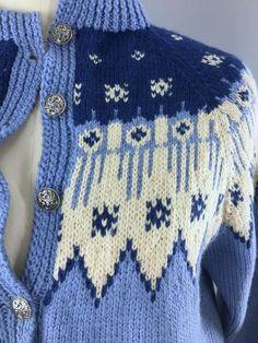 Vintage 1970s Cardigan Sweater / Blue Fair Isle Nordic Wool Fair Isle Pattern, Metal Buttons, Wool Cardigan, Vintage Wool, Blue Sweaters, Charts, 1970s, Crochet, Sleeves