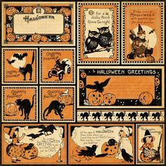 Items similar to Halloween Scrapbooking Paper Vintage Graphic 45 Happy Haunting Greetings on Etsy Retro Halloween, Spooky Halloween, Halloween Imagem, Image Halloween, Vintage Halloween Images, Halloween Labels, Halloween Prints, Holidays Halloween, Halloween Decorations