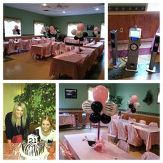 21st birthday party, success! Centerpieces were super easy. Balloons, wrapping paper, small glitter boxes (dollar tree), tissue paper and duck tape! Karaoke machine was a success-rented from local party store. Cake was a hit! Local cake maker, gave a picture and she did great! I absolutely love planning parties!