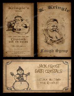 Vintage, Primitive Style Christmas Label ~ Instant Download ~ FH202