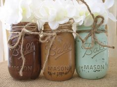 Mason Jars, Ball jars, Painted Mason Jars, Flower Vases, Rustic Wedding Centerpieces, Mint and Brown Mason Jars