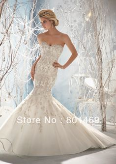 Spectacular 2013 Mermaid Wedding Dresses Sweetheart Beads Embroidery Ruched  Tulle Chapel