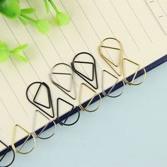 10 Pcs/Set Metal Material Drop Shape Paper Clips Gold Silver Color Funny Kawaii Bookmark Office School Stationery Marking Clips
