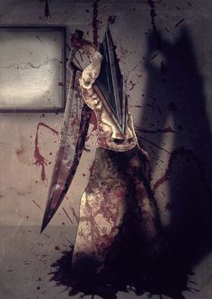 Pyramid Head, a manifestation of James's guilt. Horror Icons, Horror Films, Horror Art, Silent Hill Art, Silent Hill Nurse, Red Pyramid, Pyramid Head, Scary, Creepy