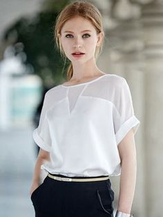 White Sheer Insert Roll-up Sleeve Chiffon Blouse Latest Street Fashion, Latest Fashion For Women, Womens Fashion, High Fashion, Blouse Styles, Blouse Designs, Business Outfit, Roll Up Sleeves, Short Sleeves