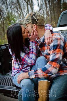 kisses. truck. engagement. love.