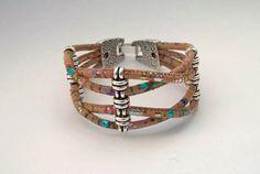 Portuguese cork bracelet multicolored natural cork by Kortici