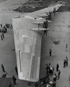 Northrup Aircraft's newest airplane, the Flying Wing XB-35 Bomber, is positioned for its first taxiing tests at Northrop Field in Hawthorne, California. May 29, 1946.
