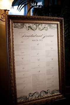 beautiful seating chart by last name, with script letters, in gold frame {Photography By / mkphoto.com}