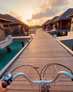 Bike through the overwater bungalows