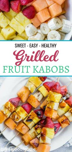 This grilled fruit kabobs recipe is a fun twist on those popular rainbow fruit kabobs you see all ov Bbq Desserts, Grilled Desserts, Fruit Appetizers, Grilled Fruit, Summer Dessert Recipes, Healthy Summer Recipes, Spring Recipes, Dessert Dishes, Spring Desserts