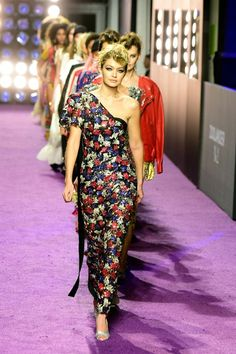 Gigi Hadid, in a Marc Jacobs dress, lead models in the catwalk show - Zoolander 2 Premiere - February 9, 2016