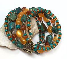 A personal favorite from my Etsy shop https://www.etsy.com/listing/461289570/autumn-bracelet-turquoise-wrap-bracelet