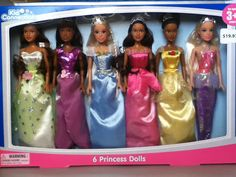 We are Kid Connection Princess Dolls from Walmart in 2012. We have more skin colors than in 2011!
