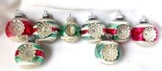 8-Vtg-Shiny-Brite-Double-Indent-Striped-Glass-Christmas-Ornaments