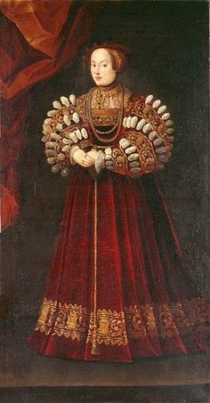Portrait of Elisabeth of Austria (1526-1545), Queen of Poland, circa 1542. One must marvel at those slashed sleeves!