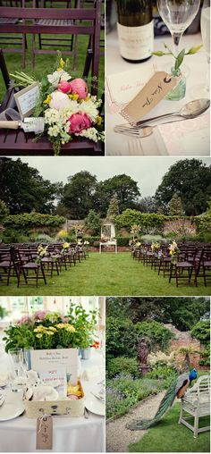 English Garden Wedding by Marianne Taylor Photography | Style Me Pretty  Like the stone wall.. and the peacock :)