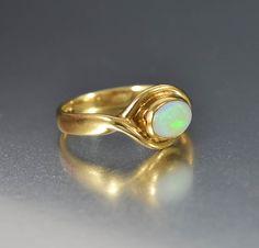 Vintage English Gold Opal Ring October Birthstone   #Gold #intage #Opal #Ring #English #Vintage #9K #Bohemian #San #Ball