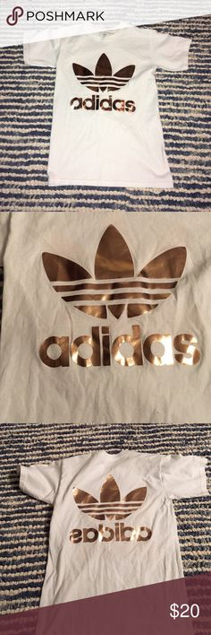 Adidas Tshirt Size xs rose gold/ copper lettering gently used Adidas Tops Tees - Short Sleeve