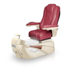 Luminous pedi-spa shown in Burgundy Ultraleather cushion, Champagne base, Aurora LED Color-Changing bowl (shown in white)