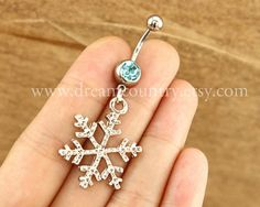 silver snow flake Belly Button Rings snow belly by Dreamcountry, $4.99