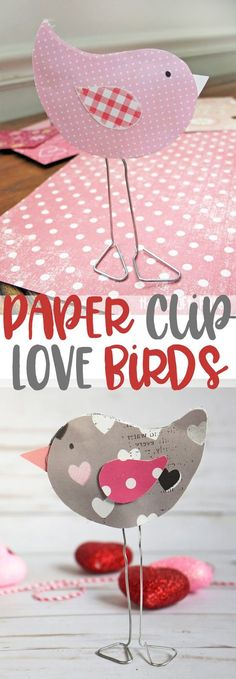 Create these cute love birds for a fun Valentine's Day craft #valentinesday #crafts