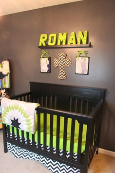 Name marquee for a little boys room or nursery, light up, different, unique, stripes, green, black, white, super heroes, spiderman, hulk, crib, dresser, baby, boy, playroom, bedroom, ideas, idea, girl, stars, son, daughter, print, canvas, wood, DIY, wall, electric, easy, lights,