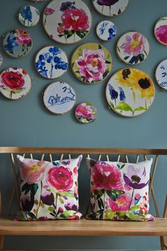 I LOVE these fabrics! gorgeous! Bluebellgray - cushion design, chair cover…