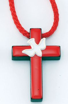 Beautifully designed, this Confirmation Holy Spirit Wood Cross from Discount Catholic Products is perfect as a supplement to confirmation gifts. This wooden cross features a simple silhouette made of quality wood and is further enhanced by bright red epoxy, giving this cross necklace a modern feel. Hung on a 30 inch red cord, the finishing touch is a small white dove and an outline of gold paint.This beautiful cross necklace is perfect not only as part of confirmation gifts ...