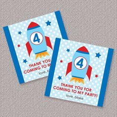 Space Rocket Party Favor Tags or Stickers Personalized Printable (Digital File). $6.00, via Etsy.