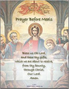 Prayers - Prayer Before Meals by Catholic Shopping .com | FREE Digital Download PDF Faith Prayer, God Prayer, Prayer Cards, Prayer Quotes, Bible Quotes, Devotional Quotes, Prayer Verses, Jesus Quotes, Faith Quotes