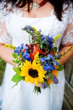 Sunflowers, dahlias and delphinium bouquet Delphinium Wedding Bouquet, Wedding Bouquets, Wedding Flowers, Yellow Wedding, Fall Wedding, Dream Wedding, Wedding Ideas, Comic Book Wedding, Here Comes The Bride