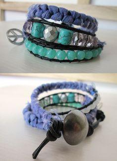boho wrap, textile , glass and semiprecious beads by So cliché jewelry  https://www.facebook.com/soclichejewelry
