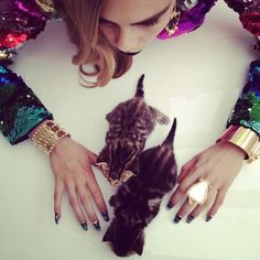 Instagram-Inspired Editorials  Cara Delevingne by Nick Knight Playfully Poses with Baby Pets