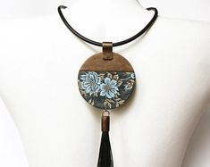 Polymer Clay Jewelry Necklace Gray Blue Copper Long Chinese Japanese Style Floral Retro Polymer Clay Jewelry Necklace Gift Birthday Gift