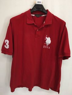 MENS 4XL U.S. POLO ASSN. POLO SHIRT RED EMBROIDERED CASUAL SHORT-SLEEVE #USPoloAssn #PoloRugby