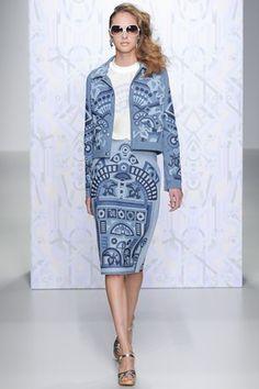 Holly Fulton denim printed jacket and skirt. #ss14