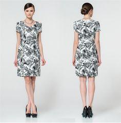 Fashion Style: Printed Dress, Black High Heels