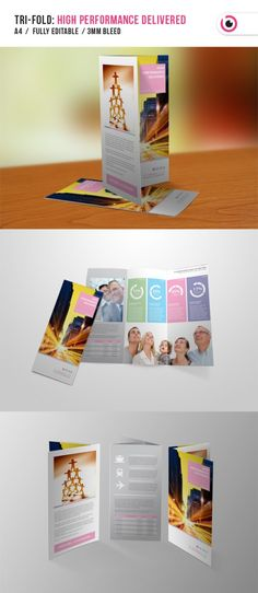 Buy High Performance Tri-fold Brochure by on GraphicRiver.txt The brochure template is designed for any. Brochure Layout, Brochure Design, Brochure Template, Brochure Ideas, Creative Brochure, Creative Flyers, Brochure Inspiration, Design Inspiration, Design Ideas