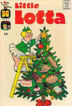 Little Lotta decorates her Christmas tree vintage comic book cover.