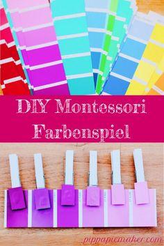 Tolle Beschäftigung für Kleinkinder und ganz easy gemacht aus Farbkarten vom Baumarkt!