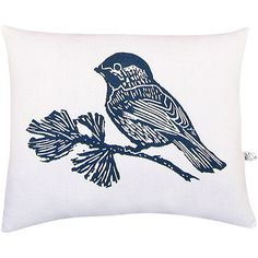 artgoodies Chickadee Block Print Pillow ($34) ❤ liked on Polyvore featuring home, home decor, throw pillows, standard, vintage home decor and vintage throw pillows