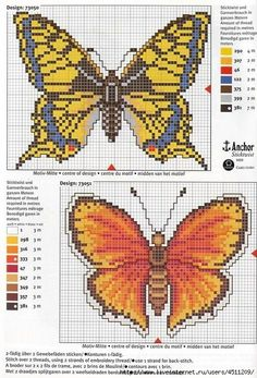 Butterflies x-stitch side 2 Loom Patterns, Beading Patterns, Embroidery Patterns, Butterfly Cross Stitch, Cross Stitch Flowers, Butterfly Pattern, Cross Stitching, Cross Stitch Embroidery, Cross Stitch Designs