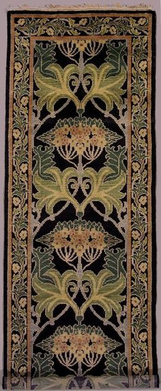 Hand-knotted wool runner or area rug in black, design by William Morris, 3 x 39 | Arts & Crafts