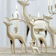 reindeer candelabras by Pentik (Finnish Design ) Winter Time, Winter Holidays, Christmas Decorations, Holiday Decor, Christmas Ideas, Romantic Homes, Winter Wonder, Scandinavian Design, White Christmas
