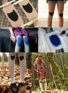 http://jenloveskev.com/2012/01/20/diy-cat-knee-pads-on-tights/  http://lostindrawers.wordpress.com/2011/12/08/d-i-y-knee-pad-tights/  http://www.chictopia.com/photo/show/181087-How+To+DIY+tights-white-diy-top-black-shoes-black-shopruchecom-dress-red-shopruchecom-coat