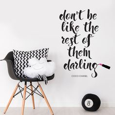 Coco Chanel Famous Quote Lipstick Words Wall Art Decal Sticker