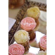 Rosette Cupcakes; Rosette Dessert Table, Rosette Party Ideas, Rosette DIY Party, Pink Cupcakes, Rose buttercream, pink and gold party ideas, pink and gold dessert table; cute dessert table, princess dessert table, pink and gold cupcakes, pink and gold cake, rosette cake, pearl theme party, pearl theme dessert table, diy letter, letter with pearls,  by Something Sweet & Lovely Follow us on Instagram @byroxydavis