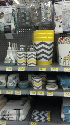 Grey & Yellow Chevron Pattern Bathroom Decor @ Walmart. Curtain hooks, wash rags, toothbrush holder, soap dispenser, soap dish...all super cute & very inexpensive #bathroomonabudget